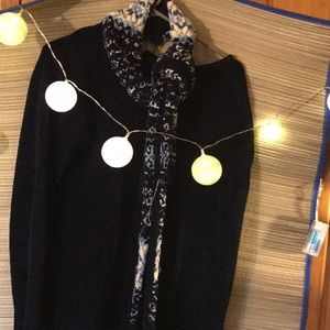 Navy sweater & scarf , ERICKA SIze L/fall sweater